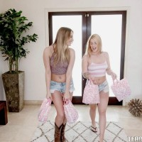 Teener girls Jenna and Kenna gobble lesbo vag and share dual dildo in hose