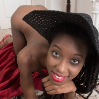 Bony ebony first timer Saf spreads her all-natural twat while wearing a sun hat and high-heels