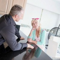 Youthful light-haired female Eliza Jane deep-throats and penetrates a stud as old as her parent is