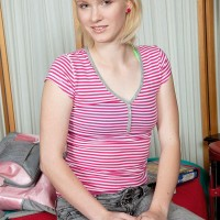 Youthfull blond female Lila Rose revealing little teenage breasts and and first-timer cooch