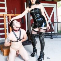 Dark haired mistress Sarah Dice has her sub spouse worship her backside and fuckbox