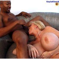 Gigantic titted elderly fair-haired Kayla Kleevage takes on gigantic black penises during xxx activity