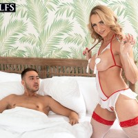 Accomplished platinum-blonde Kenzi Foxx tempts an ill young stud while attired insatiable nurse outfit