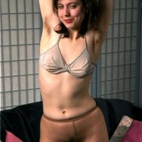 First timer chick Christie finger spreads her full pubic hair after showing her hairy underarms