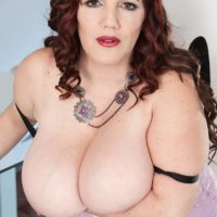 BBW solo model Roxee Robinson revealing immense all-natural hangers and panties too