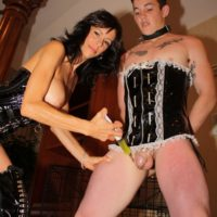 Big-boobed black-haired gf Alexis Faux having her sexy pins and cunt attended to by a sissy maid