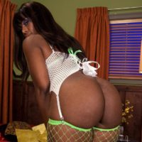 Big ebony female Leah Summers flaunting immense black rump in mesh hosiery during BLOW-JOB