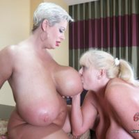 Giant breasted platinum-blonde Claudia Marie engages in strapon lesbo sex during harsh FFM sex