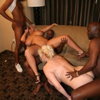 hefty breasted golden-haired Kayla Kleevage and a girlfriend partake in an bi-racial foursome