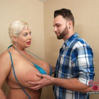 Massive titted senior fair-haired Claudia Marie gets boned by a younger stud after a oral pleasure