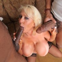Hefty jugged aged sandy-haired Kayla Kleevage gets booty nailed during sex with enormous black cocks