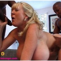 Hefty boobed senior yellow-haired Kayla Kleevage takes on giant black cocks during hardcore action