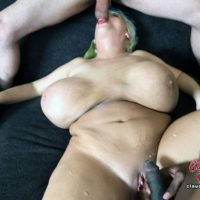 Massive breasted platinum fair-haired Claudia Marie takes on large white and ebony pricks at once