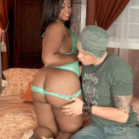 Black chick Thalia Tate having her sugary-sweet monster-sized ass whipped out from undies on bed