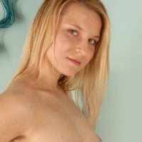 Ash-blonde first timer shows her unshaven underarms before airing out her all natural beaver