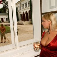 Platinum-blonde MILF Lucy Love unveiling massive breasts for breast slurping from black boy by pool