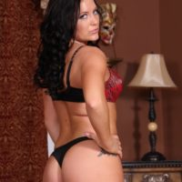 Brunette girlfriend Hayden Bell flashing nice ass before riding dick in front of a cuckold