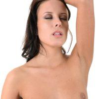 Dark haired solo girl Lexi Layo slides off her phat lingerie preceding to masturbating