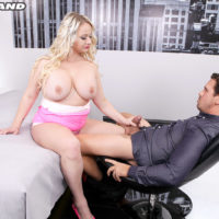 Big-boobed light-haired Bambi Bella interchanges blow-job with her boy before sexual intercourse