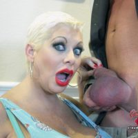 Bosomy older platinum platinum-blonde Claudia Marie receives a cum-shot in mouth after a poke