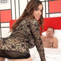 Huge-titted MILF Mischel Lee sports spunk on her thicket after sex on a bed in high heels