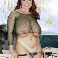 Chubby red-haired MILF Virgin Brady freeing enormous fun bags in military fatigues