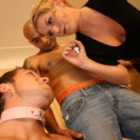 Collared subby spouse forced to slurp a monster-sized penis by platinum-blonde Ashley Edmunds