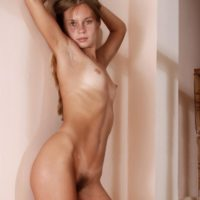 Kinky sandy-haired European first-timer showcasing wooly honeypot after stripping naked