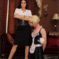 Dark haired wife Emmanuelle London humiliating a crossdressing sissy maid