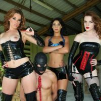 Dom chicks Lizzie and Esmi hook-up with Deanna to dominate a masked male