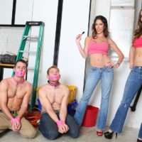 Dressed stunners Dava and Molly dominate collared sissy boys in pumps and denim jeans