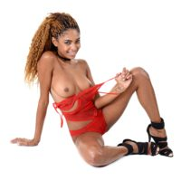 Ebony solo girl Luna Corazon deep-throats and rides a sex toy after casting off red lingerie