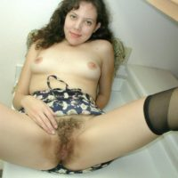 Euro solo models display off their fur covered all natural beavers after panty removal