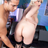 Fair-haired ultra-cutie Holly Brooks deep-throats an enormous penis before banging in tights