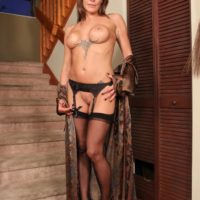 Gawky light-haired chick Christine abjecting her collared subby husband in stilettos