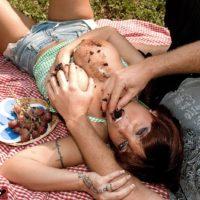 Killer MILF Sarah Sunshine has her big natural boobs caressed outdoors