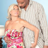 Killer elder broad Payton Hall is stripped to g-string panties by her younger black paramour