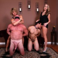 Lanky girlfriends Cadence Lux and Brianna pegging subby hubbies on limit bondage table