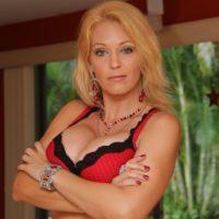 Leggy stocking garmented ash-blonde girlfriend Charlee Chase face fucks her crossdressing sissy maid
