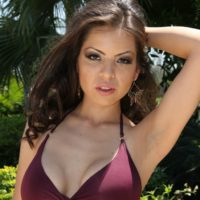 Little dark haired stunner with massive boobies forcing a collared submissive to gobble a gigantic penis