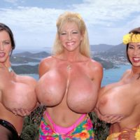 Older Oriental doll Minka and 2 girlfriends flash off their giant boobs outdoors