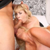 Mature blonde BIG HOT LADY Kayla Kleevage and a gf take part in a 3 way on a bed