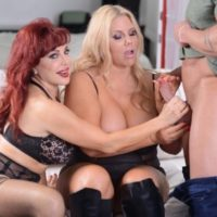 elderly fair-haired Karen Fisher hooks up with a ginger-haired for threesome sex