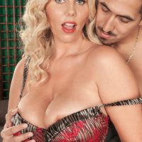 Aged platinum-blonde MILF Karen Fisher is disrobed of her lingerie and hose by her paramour
