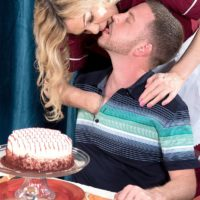 Mature fair-haired lady Lena Lewis entices a younger man after baking him a cake