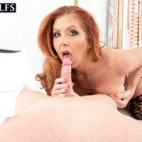 Elderly ginger-haired Mrs. Robinson deep throats on the ball sac during a BLOW JOB prior to screwing