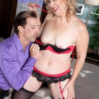 Elderly girlfriend with light-haired hair Rebecca Williams seduces her hubby in lingerie and stockings