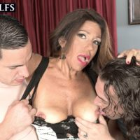 Mature doll Layla LaMora tangles with a duo of immense hard-ons at the same time