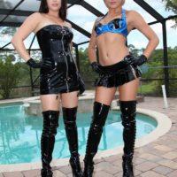 Mind-blowing nymphs Daisy Haze and Marina Angel tease a sub
