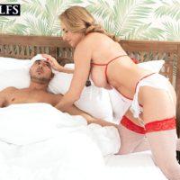 Aged platinum-blonde Kenzi Foxx seduces an ill youthfull dude while attired nasty nurse clothing